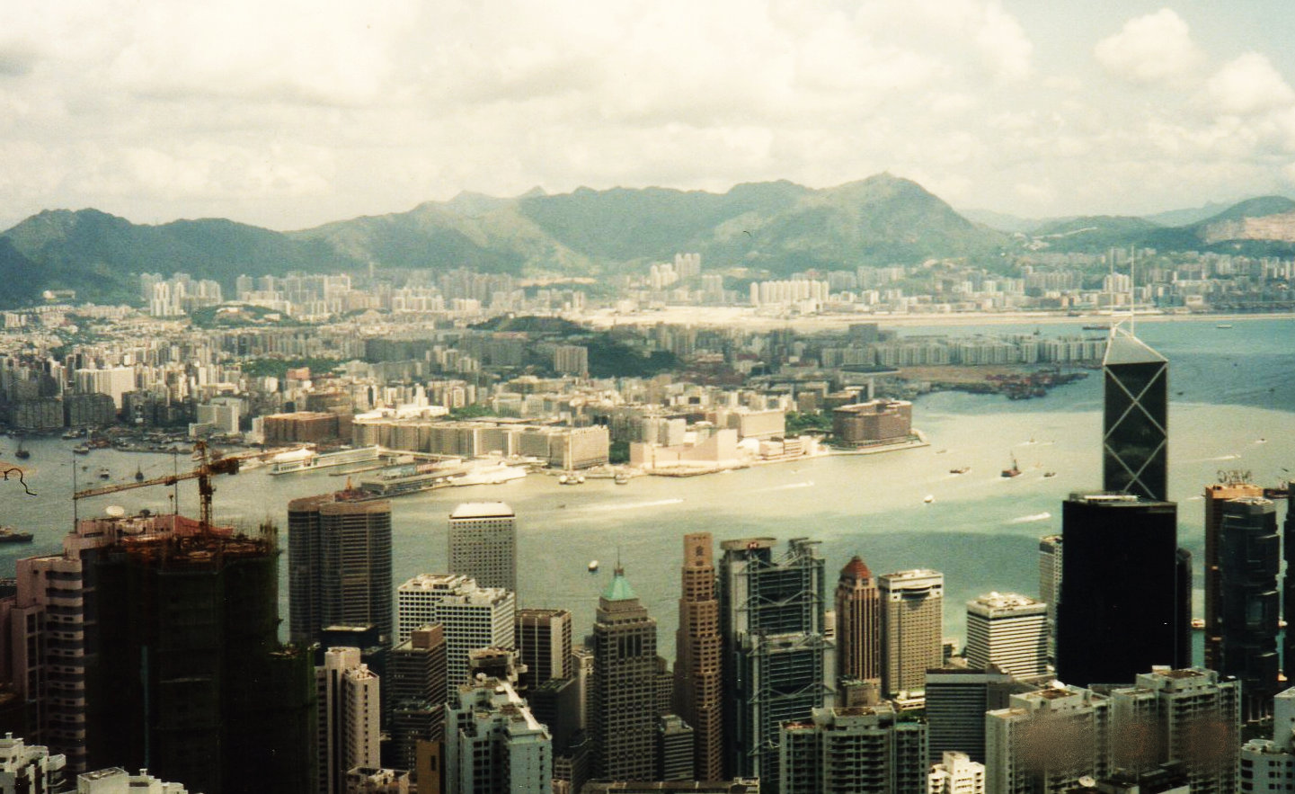 5度目の香港(1992年9月)⑫-1(ビクトリアピークよりビクトリアハーバーを望む)