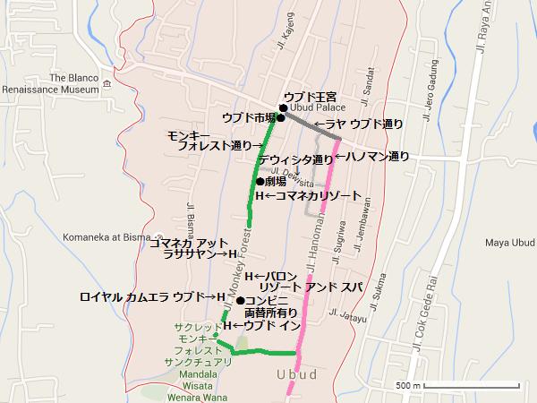 ウブド中心地の地図