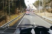 いきなり前を走っているバスが・・