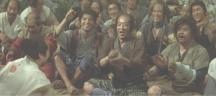 村の夏祭りに招かれた尼子義高と家臣たち