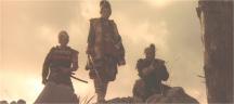 村を眼下に見る尼子義高とその家臣