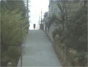 一台の人力車が坂を下って行く