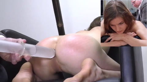 浣腸罰 Miss April Kneeling Syringe Enema (無修正)