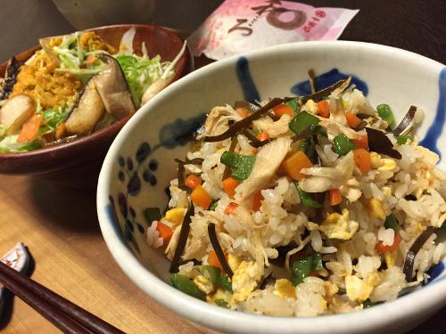 Aug27_鶏ささみと昆布の炒飯