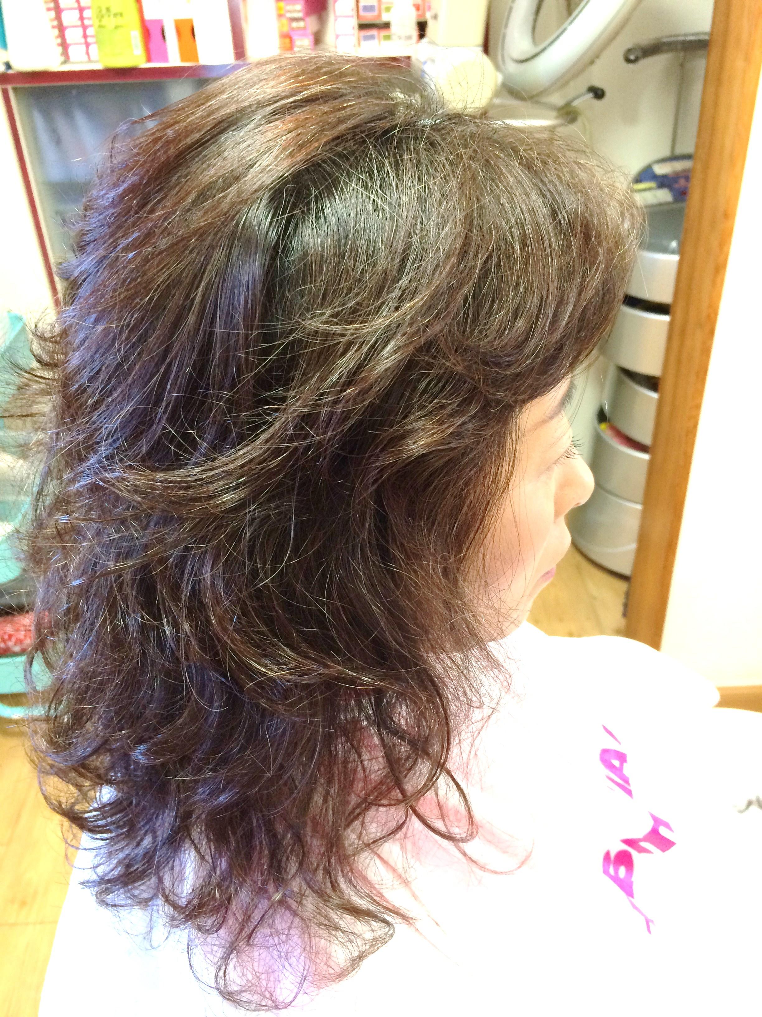 ノンジアミンカラー 染める前 白髪率40%~50%