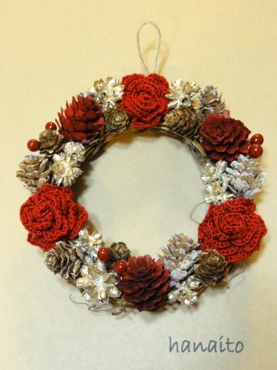 赤い薔薇の冬リース1