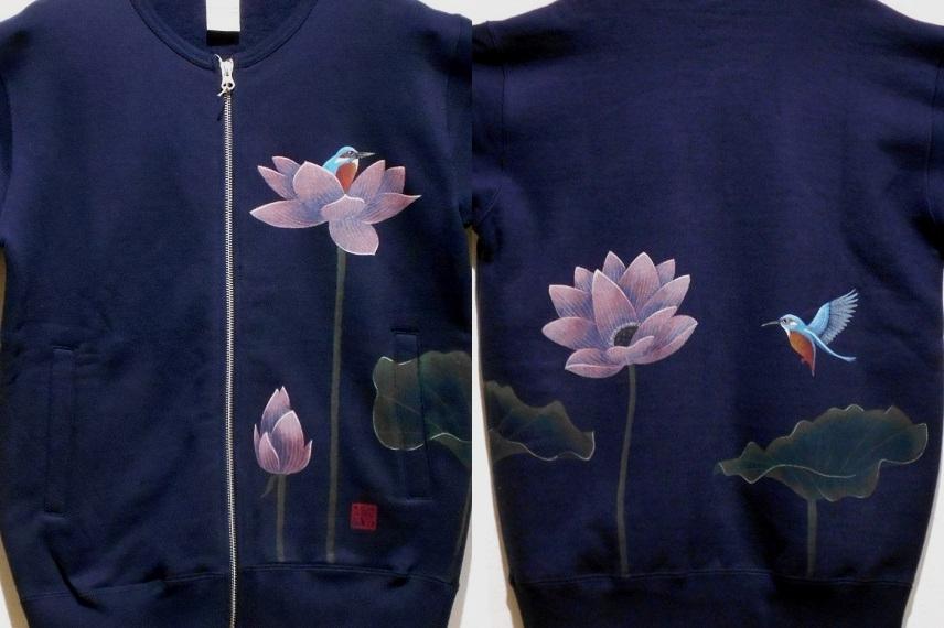 蓮とカワセミ 手描きジャケット