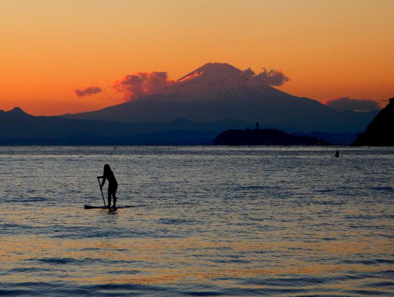 151128パドボと富士山@逗子海岸3