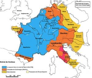 カール大帝時代のフランク王国領土