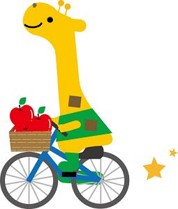 自転車に乗るキリン