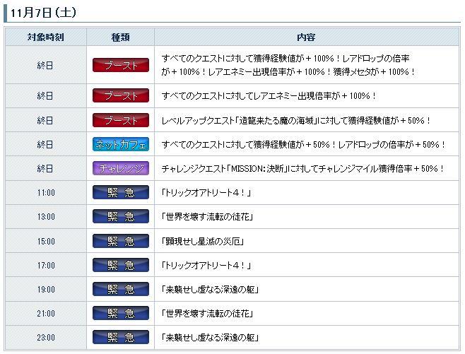11-7の勤務日程表