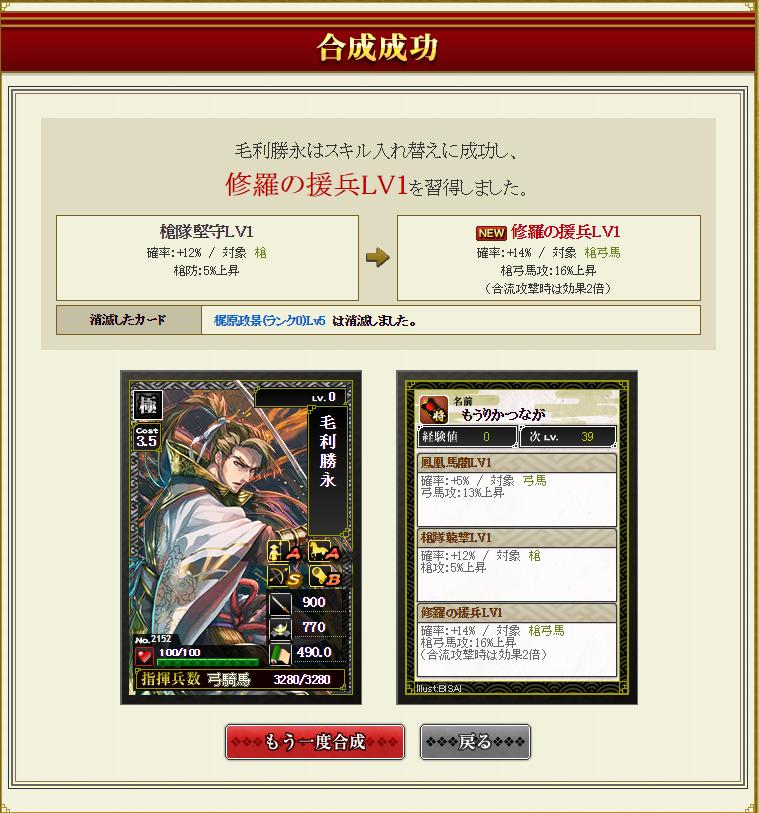 10月29日 毛利勝永梶原合成結果