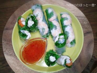 タイ風鶏肉バジルごはんと生春巻き