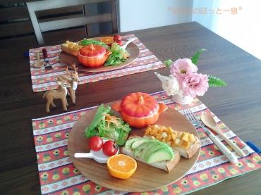 カボチャスープとアボカド&柿のオープンサンド