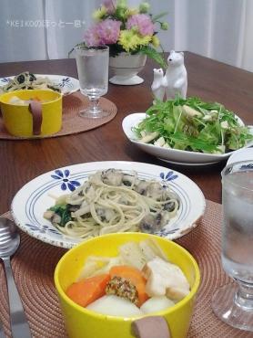 牡蠣パスタとポトフ2