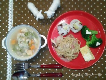 母パスタとさつまいもご飯とスープ2