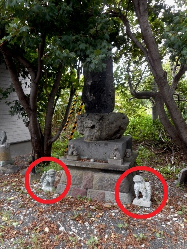 泊村 泊稲荷忠魂碑前の狛犬 再掲
