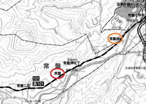 中央バス路線図 南区常盤周辺