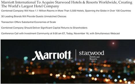 マリオットがスターウッドを買収、世界最大のホテルグループが誕生!