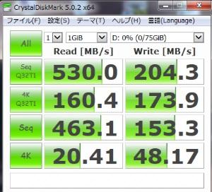 Intel535 SSDのDiskMark5測定結果画像