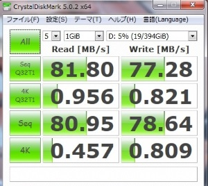 標準HDDのDiskMark5測定結果画像
