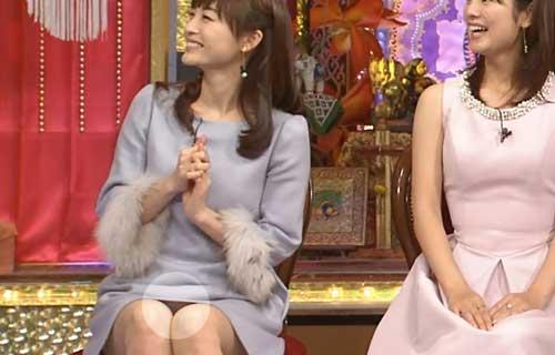 新井恵理那 今夜くらべてみました☆でミニワンピの股間からマン毛が透けたパンツがマル見えパンツ丸見え