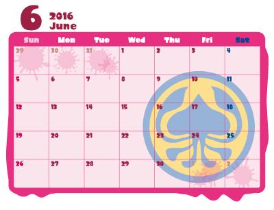 スプラトゥーン 2016年 カレンダー 6月 クラーゲス