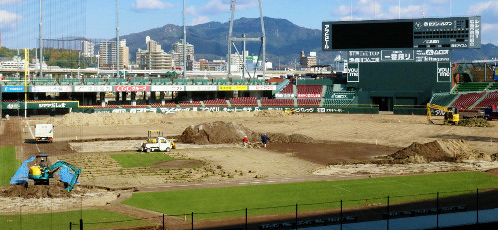 【カープ】マツダスタジアムの天然芝張り替え工事がスタート