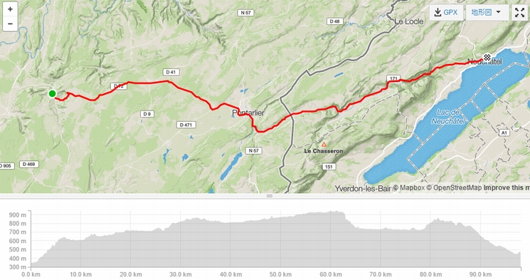 Salins les Bains-Neuchatel Map