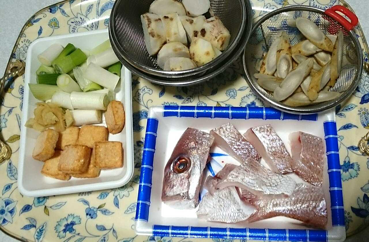 材料/真鯛の炊き合わせ