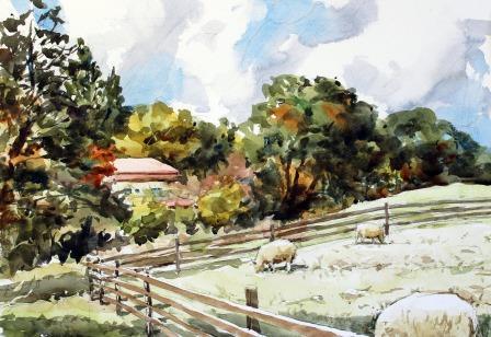 秋の日と羊