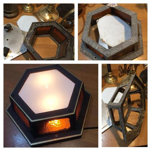 修復の様子 アンティークランプ ライト 照明