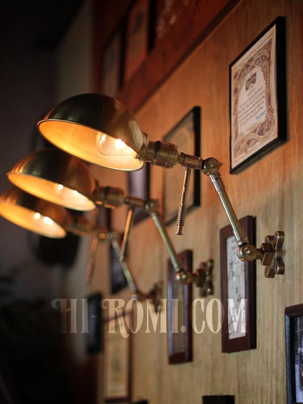 フランクリンスイッチ社製ファットボーイソケット&角度調整付きラウンドシェード工業系真鍮ブラケットランプA/インダストリアルスチームパンクウォールランプ壁面照明