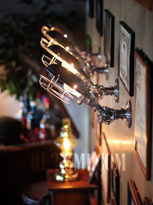 USAヴィンテージバルブ角度調整ワイヤーケージ付工業系ブラケットA/アンティーク工業系インダストリアル壁面照明ランプ