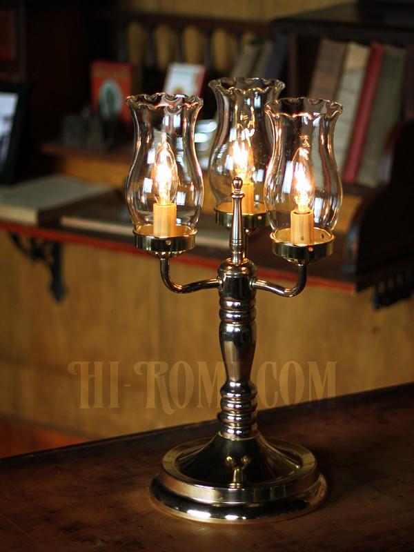 USAヴィンテージコロニアルガラスシェード付3灯ハリーケーンテーブルランプ/アンティークヴィクトリアン照明