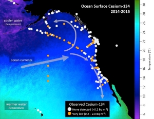 Ocean surface Cs-134 2014-2015
