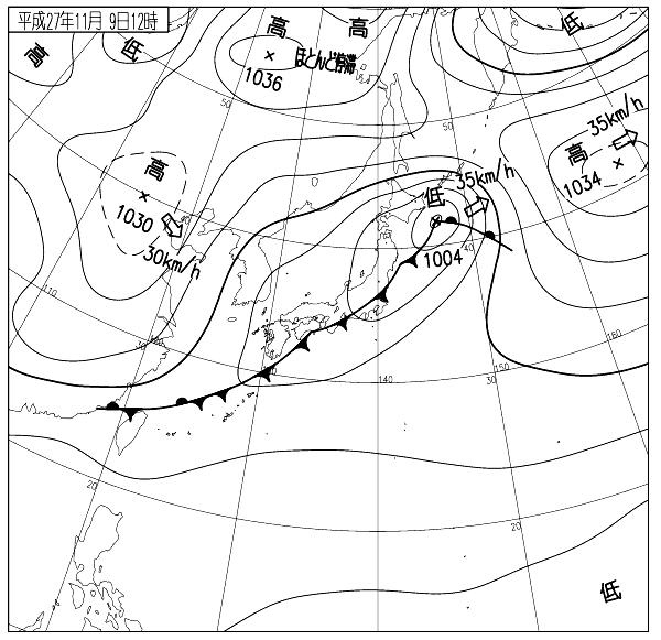 11月9日12時 天気図