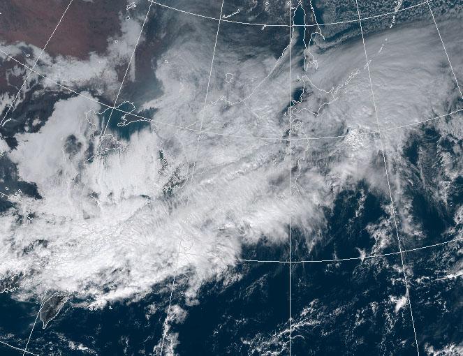 11月9日12時の雲の様子(可視画像)