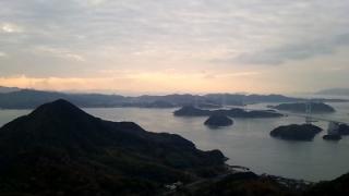 しまなみ海道の橋から見た夕日