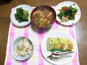 ほうれん草の炒め物・中華風卵焼き・シジミご飯