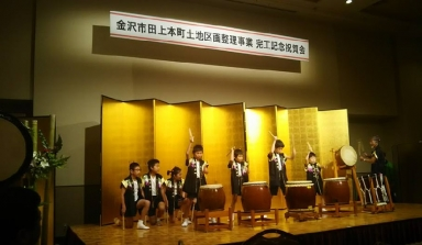 田上本町子供太鼓倶楽部もお祝の太鼓を