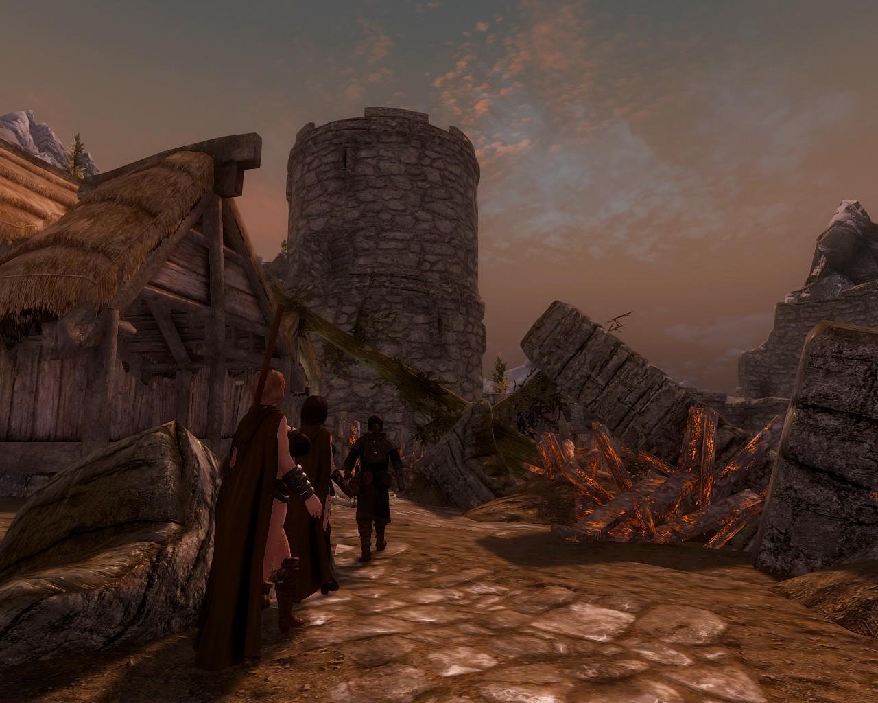 焼け落ちた塔