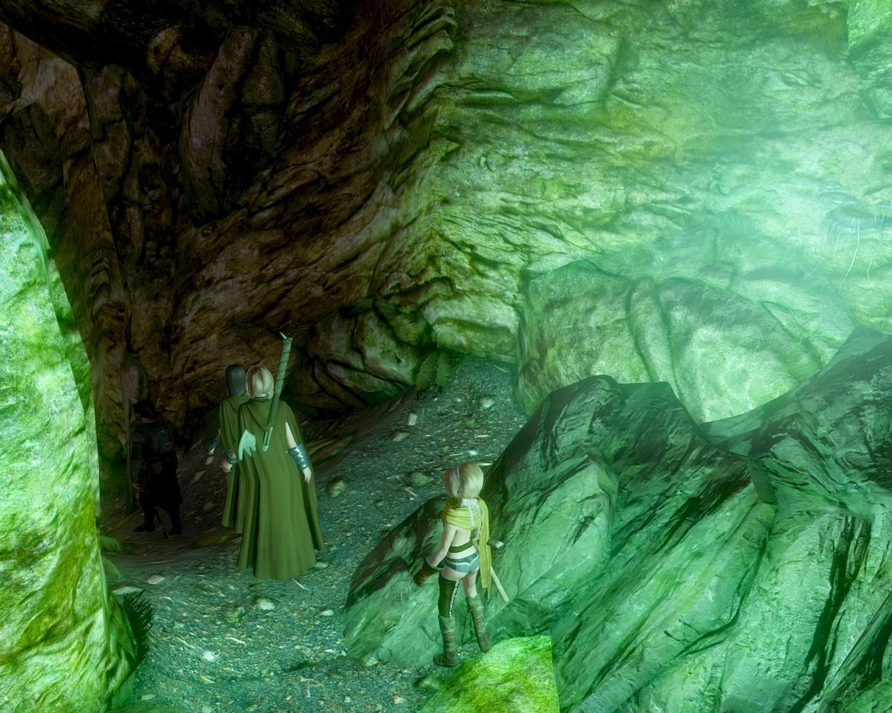 薄明かりが照らす洞窟