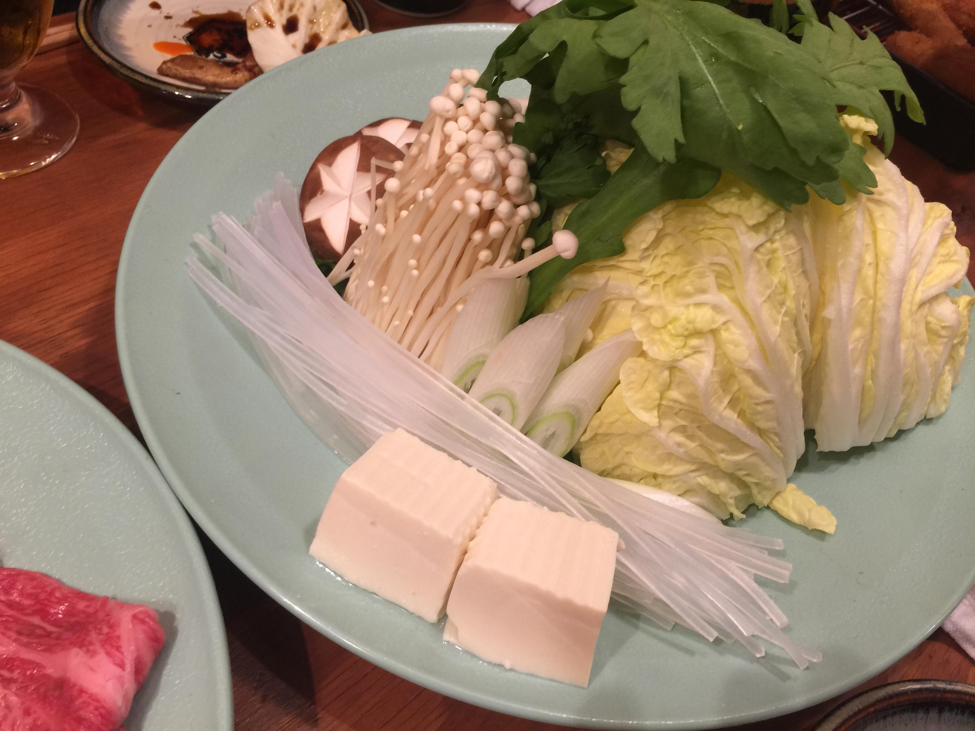 大阪新世界通天閣周辺こだわりの串カツぎふや本家和牛しゃぶしゃぶ野菜