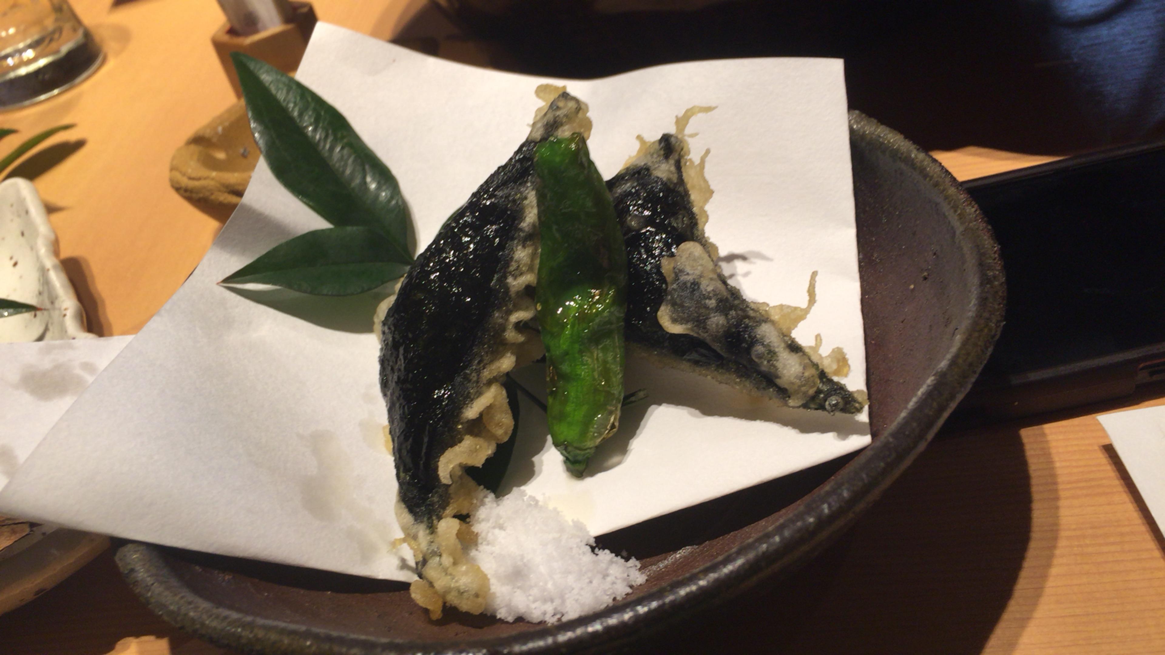大阪ミナミの宗衛門町にある小料理・割烹『旬草hide』うにの磯辺揚げ